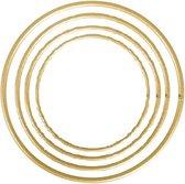 Set van 4 metalen ringen goud verschillende maten 10, 15, 20 en 25cm