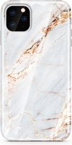 iPhone 11 Hoesje – Siliconen Case Marmer Design – Wit