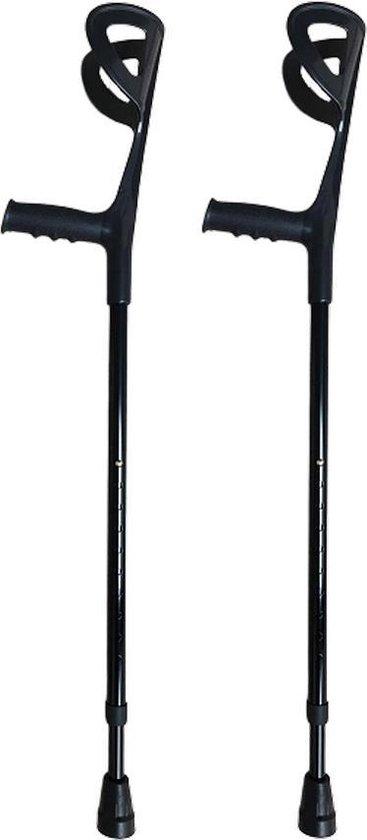 Elleboogkrukken - loopkrukken - krukken open manchet zwart. Verstelbaar. Set - paar van 2