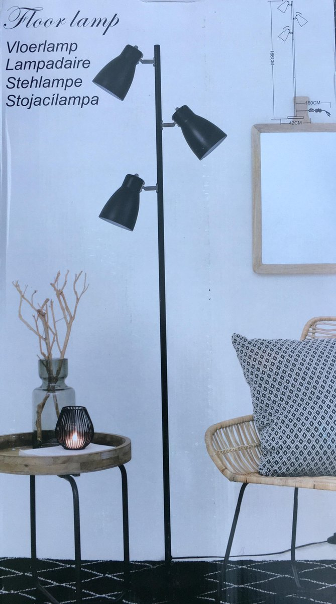 Bol Com Vloerlamp Staande Lamp Met 3 Spotjes Zwart
