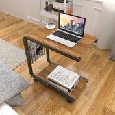 HN® Laptop bijzettafel hout op wielen 51x30x56cm   Bijzettafel metaal met hout en wielen   Ideaal als bedtafel of op de bank   Duurzame laptoptafel   Eenvoudige montage