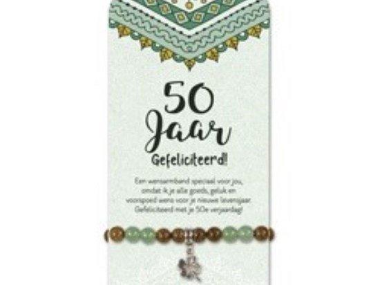Armband -50 jaar - klaver - Jade - op cadeaukaart