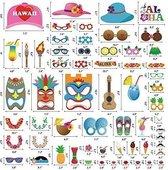 Anokay Photo Booth Haiwaii - 60 stuks Fotocall Kit Maskers Prop Photo Props Hawaii Accessoires Kleuren Bril Snor Lippen Vlinderdas Hoeden voor ...