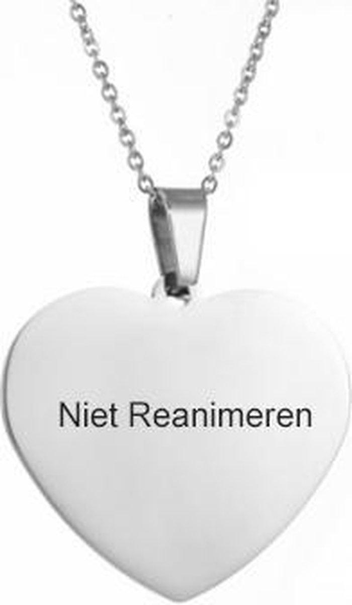 Gegraveerde Niet Reanimeren Ketting - Do Not Resuscitate - Gegraveerd - Hart - Hartje - Roestvrij St