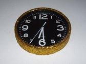 Glitter klok Goud/Zwart 30 cm