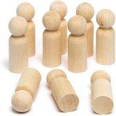 Houten pionnen blanco - klein - mannetje - DIY - 20 stuks - 35mm