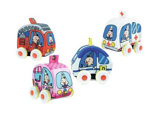 Bumba - Speelgoedvoertuig - Pull back auto's - stoffen auto's - 4 stuks - 1 politie auto - 1 brandweer auto - 1 ziekenwagen - 1 ijsco wagen