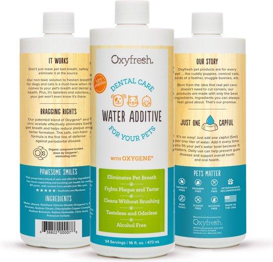 OxyFresh Pet Mondwater Hond en Kat. Helpt tegen tandsteen, plak en vieze ademgeurtjes