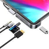 6 in 1 Multifunctionele iPad Pro Hub Type-C naar 4K HD/ USB 3.0/ SD/Micro SD/ USB C PD/ 3.5mm Audio Jack