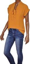 Korte mouwen strik blouse Iris van Triple Nine oker - Maat S