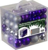 4seasonz kerstballenset - 120 stuks - Kunststof - Zilver/Paars
