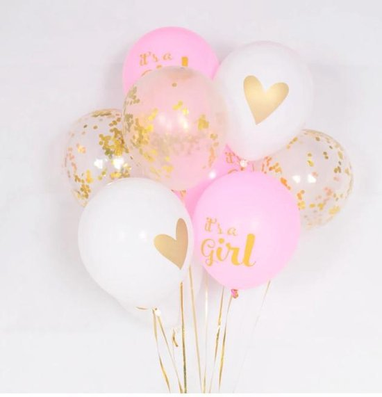 Babyshower Versiering Ballonnen set It's A Girl | Roze, WIT & GOUD | 10 Stuks |