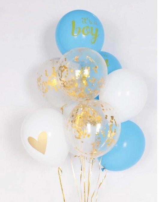 Babyshower/Versiering/ Ballonnen set It'S A BOY | BLAUW, WIT & GOUD | 10 Stuks |