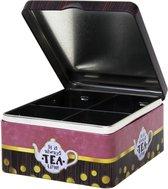 4-vaks theedoos/theekist 15 cm met Tea Time print - Keuken accessoires - Theezakjes houder bewaarblik