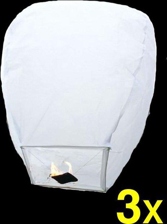 3 witte wensballonnen vliegende papieren lantaarns ufo ballon zweeflantaarn Wish lantaarn: VOLANTERNA®
