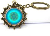 Bloem des Levens sleutelhanger - Heilige Geometrie – Brons/Blauw/Groen - Keychain Flower of Life – Sacred Geometry – Healing – Yoga - Reiki