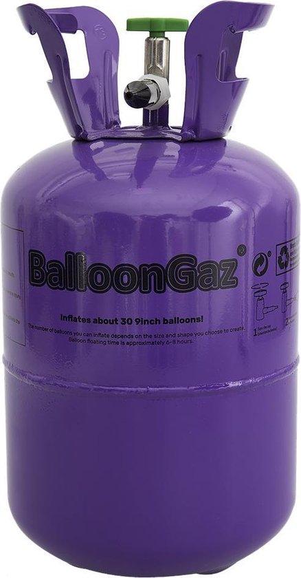 Heliumtank Voor circa 30 ballonnen 0,25M3 + 50 gekleurde ballonnen + 4 rollen lint voor feestjes , verjaardagen , jubilea en voor de gezelligheid