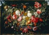 Schilderij - Slinger van bloemen en fruit, Jan Davidsz de Heem , print op canvas
