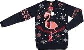 Donkerblauwe dames kersttrui met flamingo - Foute kersttruien S