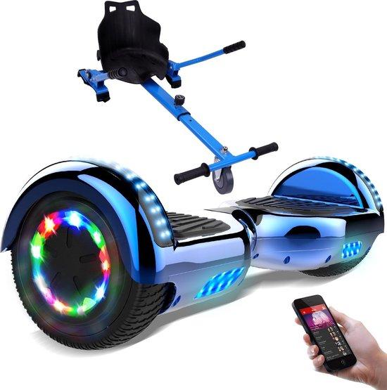Evercross 6.5 inch Hoverboard met Flits Wielen + TAOTAO moederbord, Elektrische Zelfbalancerende Scooter,Bluetooth Speaker,LED verlichting - Blauw Chroom + Hoverkart Blauw