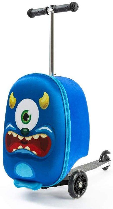 Jongens Koffer | Hand Bagage | Koffer en step in 1 | Blauw | Monster | Koffer Kinderen - 21 liter - Step met 3 Wielen | 5 tot 9 jaar - 50 kilo - Tas Kinderen | FDBW - Bouncy Box 40x20x25 cm incl. Nekkussen Vliegtuig