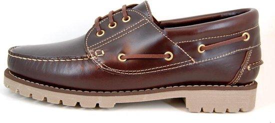 Stravers - Maat 50 Bootschoenen met Profielzool Heren Bruin. Grote Maten Bootschoenen