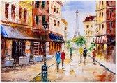 Parijs - Eiffeltoren - Woonkamer - Schilderij op Canvas