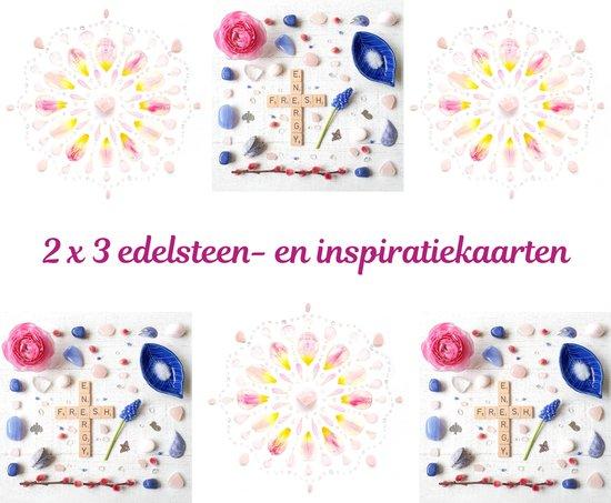 Edelsteen- en inspiratiekaarten   6 stuks   14,7 x 14,7 cm   set 7