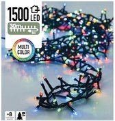 Gekleurde kerstlampjes Microcluster - 30 M - 1500 LED - Multi Color - 8 Standen