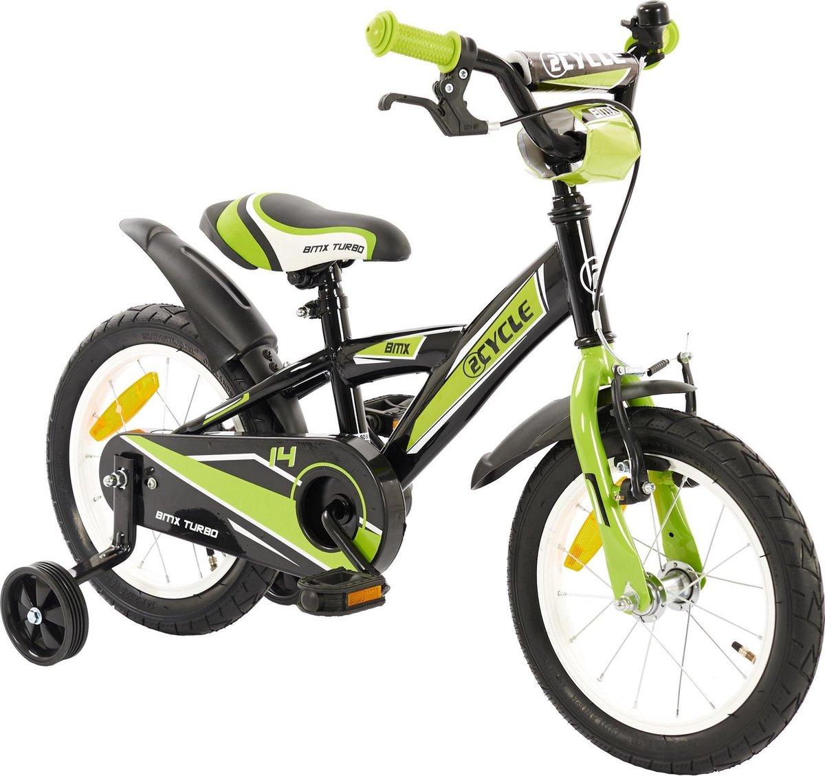 2Cycle BMX Kinderfiets - 14 inch - Groen-Zwart - Jongensfiets