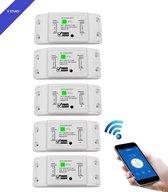 5 stuks BELIFE® Smart Switch | Wifi schakelaar | Bediening met uw smartphone | 10A |2200W