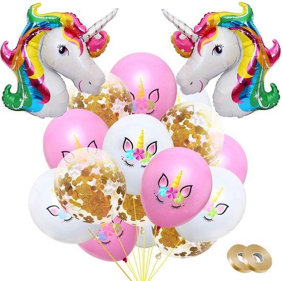 Fissaly® 34 stuks Eenhoorn Decoratie Helium Ballonnen met Lint – Verjaardag - Confetti – Latex