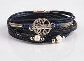 Armband Dames Rosegoud- Leren Wikkelarmband Galeara design Rosekleurig met blauw Dames Levensboom 19,5cm - Galeara design