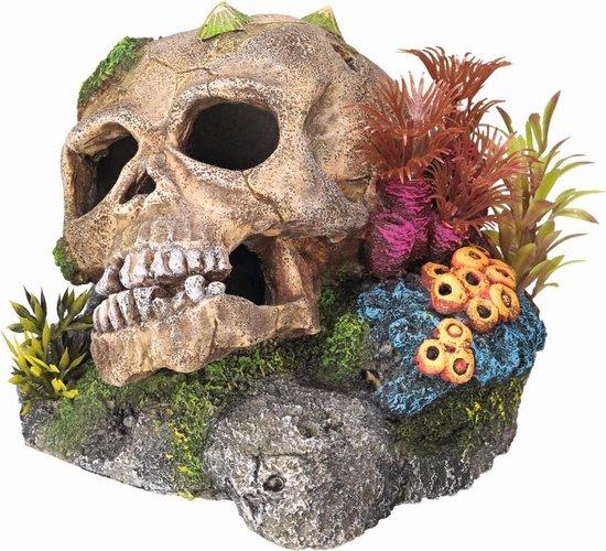 Nobby aqua deco schedel met koraal en planten 13,5 x 13,5 x 10,5 cm - 1 ST