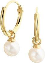 The Fashion Jewelry Collection Oorringen Met Hangers Zoetwaterparel - Geelgoud