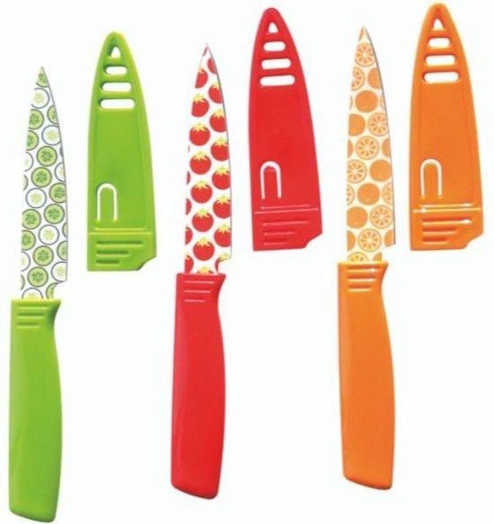 Keukenmes met beschermhoes - Gekleurde messenset -  3 delig - Mes met hoes - Kunststof - Vaatwasserbestendig