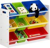 relaxdays speelgoedrek - opbergrek kinderen - speelgoedboxen opbergmeubel speelgoed kleurr L