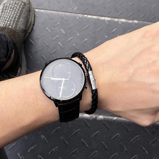 Gevlochten Leren Armband met Stalen Sluiting   Armband Heren   Armband Mannen   Armband Dames   Mannen Cadeautjes   Cadeau voor Mannen    Zwart