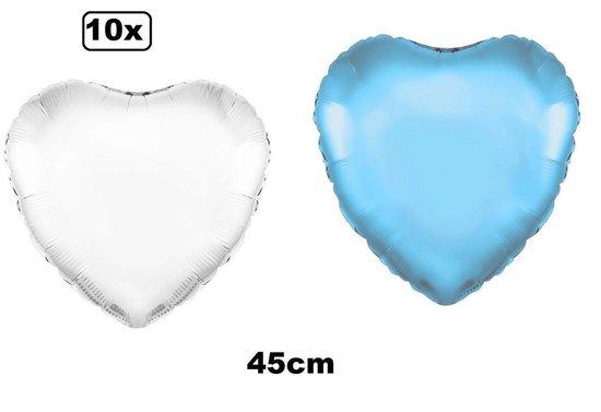 10x Folie ballon Hart 45 cm licht blauw en wit met luchtpomp