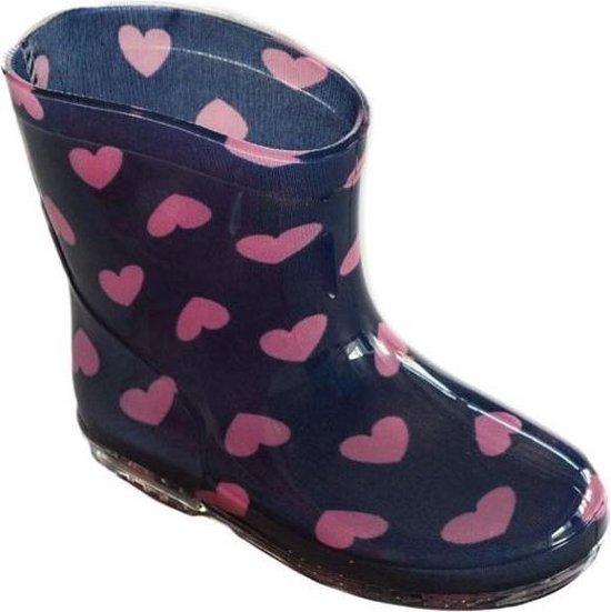 | Regenlaarzen meisje Marineroze met hartjes