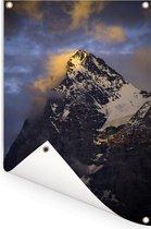 Bewolkte Eiger bij zonsondergang in Zwitserland Tuinposter 60x90 cm - Tuindoek / Buitencanvas / Schilderijen voor buiten (tuin decoratie)
