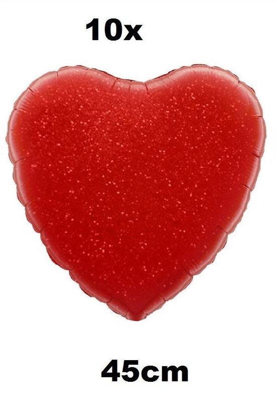 10x Folie ballon Hart 45 cm rood met luchtpomp