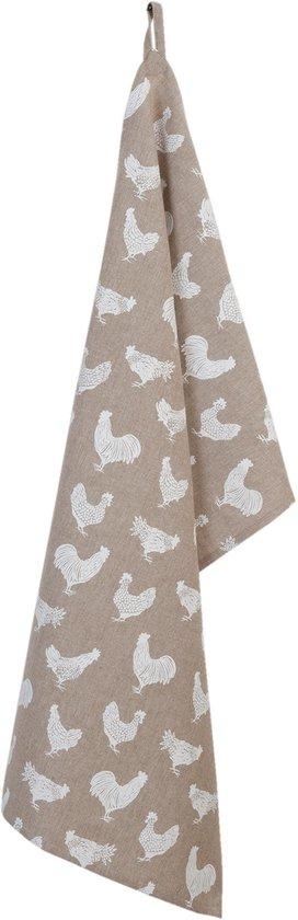 Clayre & Eef - Keukendoek - Theedoek - textielserie Landelijk - Kippen & Hanen -  50 x 85 cm