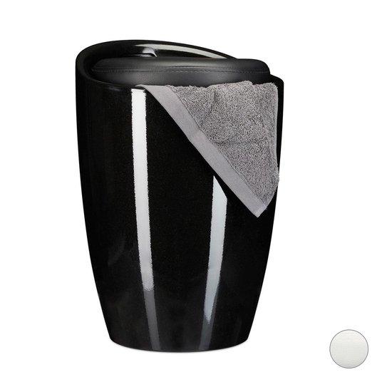 relaxdays Zitkruk met bergruimte - wasmand - kruk rond 28 liter - krukje met opslagruimte zwart - Relaxdays