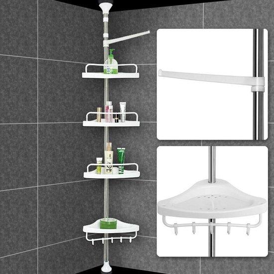 Telescopisch doucherek van chroom, verstelbaar 155 - 320 cm met extra handdoekrek