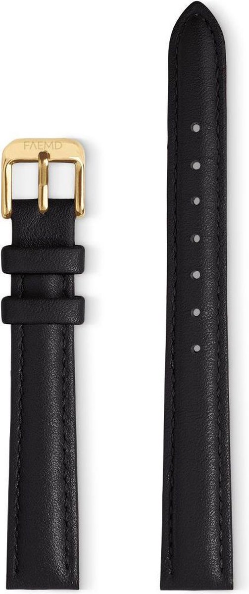 FAEMD Lune Series Strap - Zwart/Goud - Horlogeband - Leer - 14mm - FAEMD