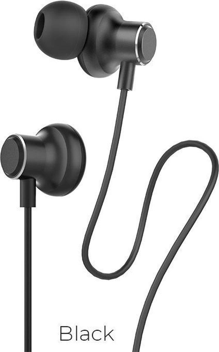 Hoco – In Ear Oordopjes – Oortjes met draad en microfoon – Zwart