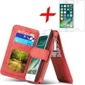 Apple iPhone 7 Plus / 8 Plus Hoesje Portemonnee Luxe Lederen Wallet Case met Afneembare Back Cover Rood + Screenprotector Gehard Glas van iCall