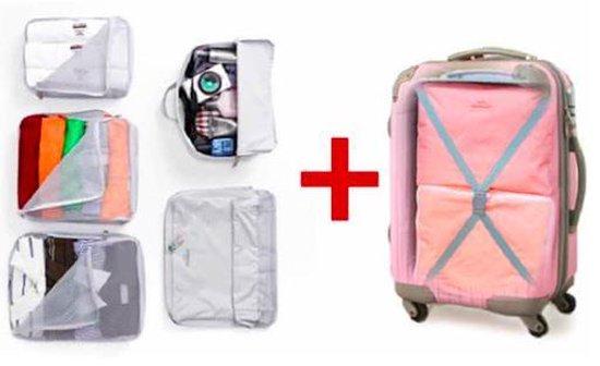 CoshX® Koffer organiser licht roze 5 stuks / set   Travel bag   Reis organizer   Kledinghoes   Kleding tas  Opgeruimde koffer   Reis tas   Packing cube - Cx