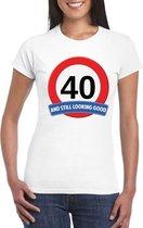Verkeersbord 40 jaar t-shirt wit dames XL